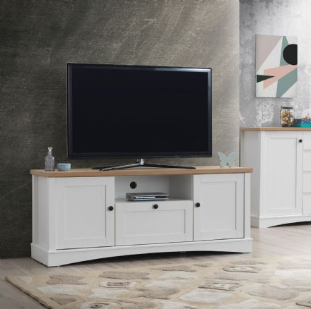 Carden White TV Cabinet with 2 Doors & 1 Drawer